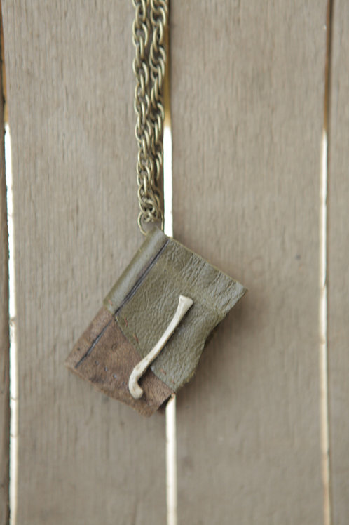 Miniature Book Necklace - Brown & Green Leather with Rabbit Bone
