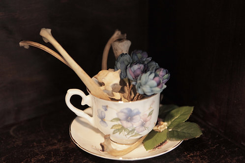 Whimsical Tea Cup with Deer Bones