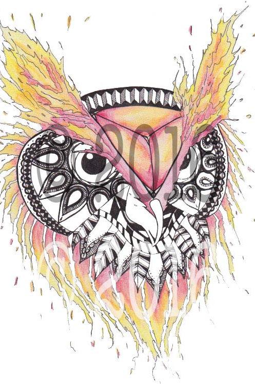 Fire Owl Art Print