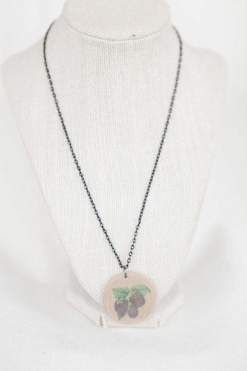 Blackberry Print Wood Round Pendant Necklace