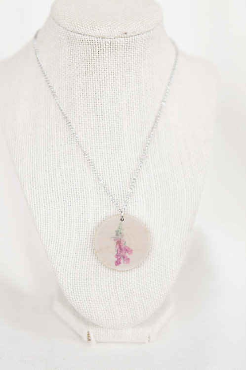 Foxglove Print Wood Round Pendant Necklace