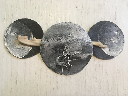 Triple Moon Leather/Bone Hair Barrette