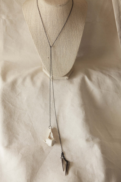 Deer Vertebrae & Spike Tie Necklace