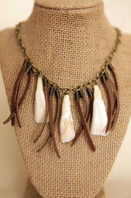 Buffalo Tooth & Leather Necklace