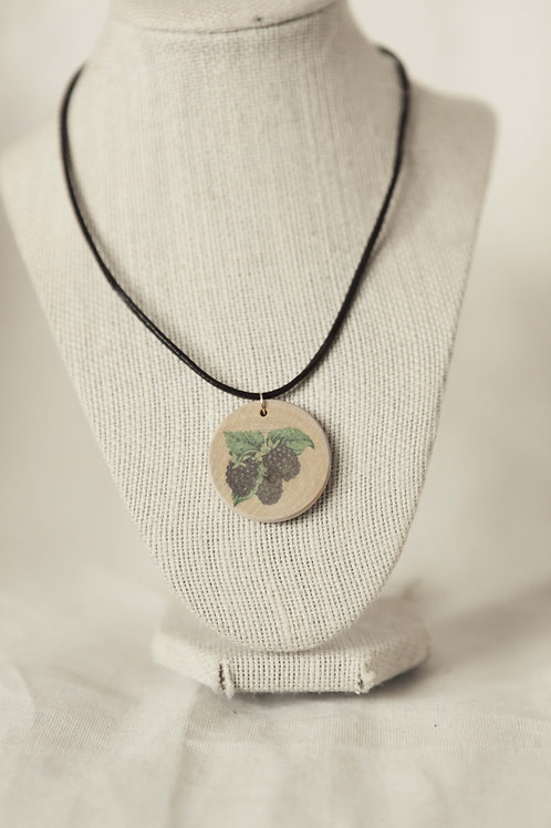 Blackberry Pint on Wood Round Necklace
