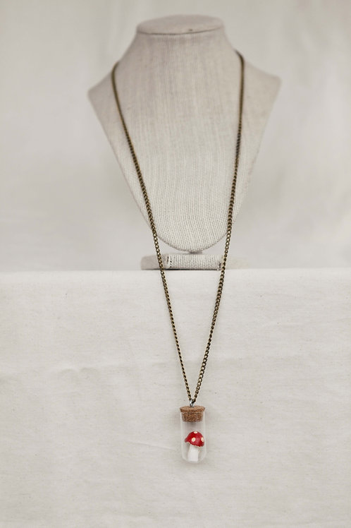 Toadstool in Vial Necklace