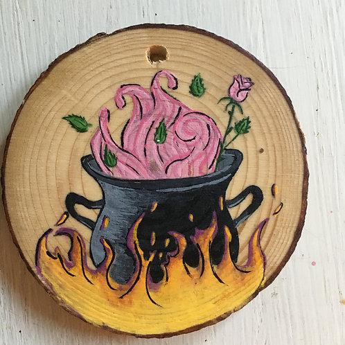 Roaring Cauldron Wood Round Art