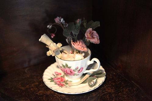 Whimsical Tea Cup with Deer Bones