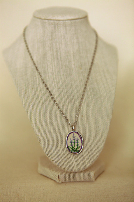 Embroidered Lavender Pendant Necklace