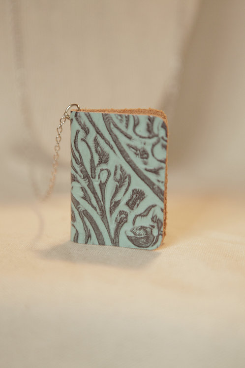 Miniature Book Necklace - Embossed Teal Leather