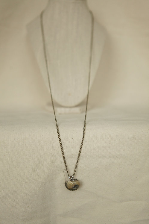 Garden Snail Shell & Quartz Crystal Necklace
