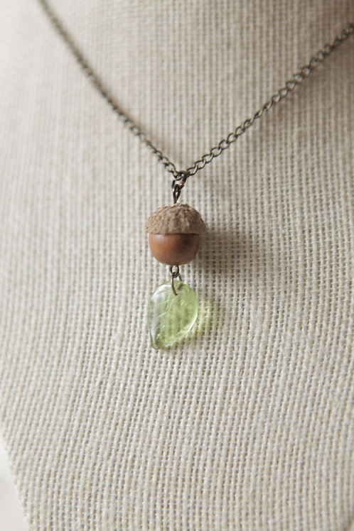 Wood Bead Acorn Necklace