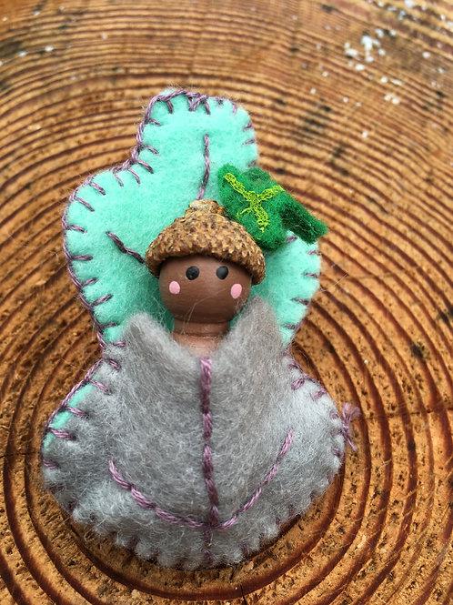 Acorn Spirit Doll- Oak Leaf Pin