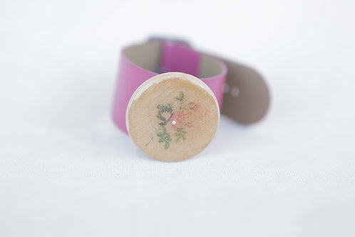 Wild Rose Wood Round Leather Cuff
