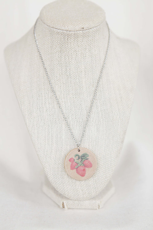 Strawberry Print Wood Round Pendant Necklace