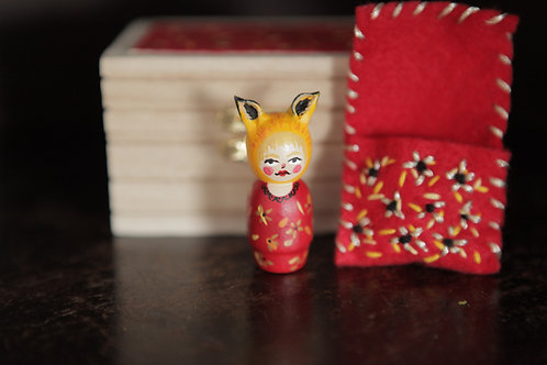 Fox Miniature Wood Doll