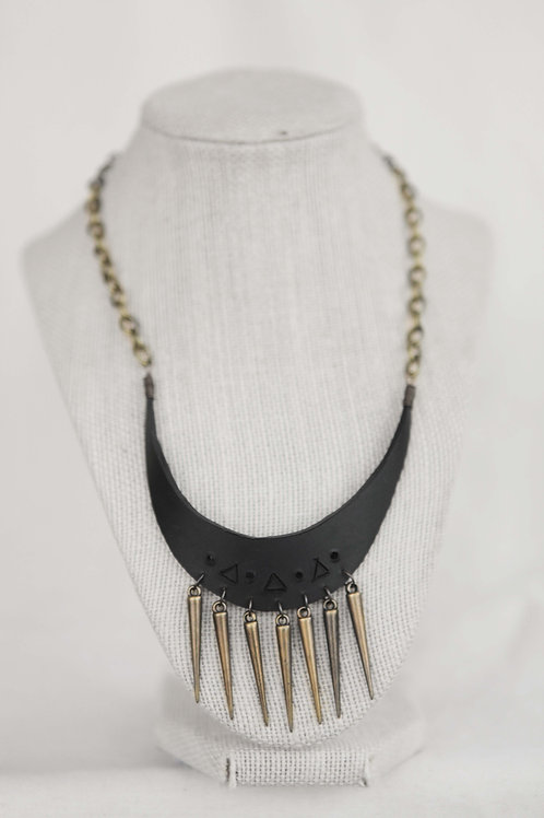 Upcycled Rubber and Spike Necklace