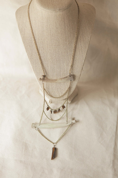 Deer Rib and Tiger Eye Necklace