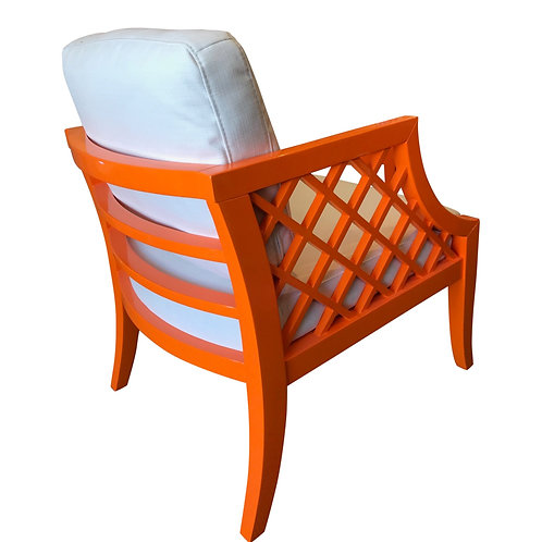 Orange Lacquered Latice Chair