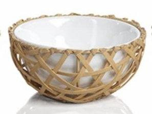 Wicker and Bamboo Condiment Bowl, Crisscross