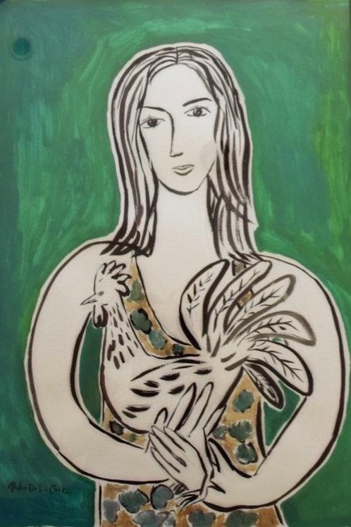 Lady With Rooster Green By Pedro De La Cruz