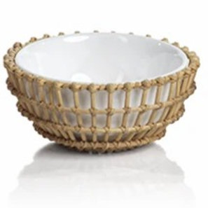 Wicker and Bamboo Condiment Bowl, Knots with 3 Horizontal over Vertical