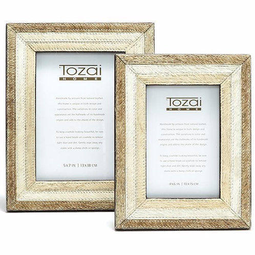 Cowhide Hand-Stitched Photo Frames
