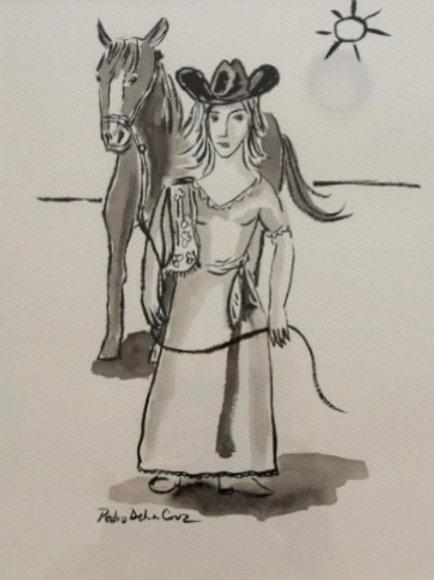 Women With Horse By Pedro De La Cruz