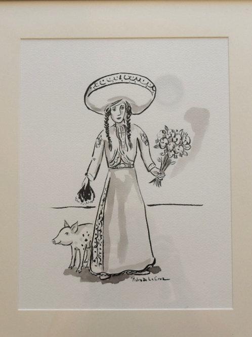 Women With Pig by Pedro De La Cruz