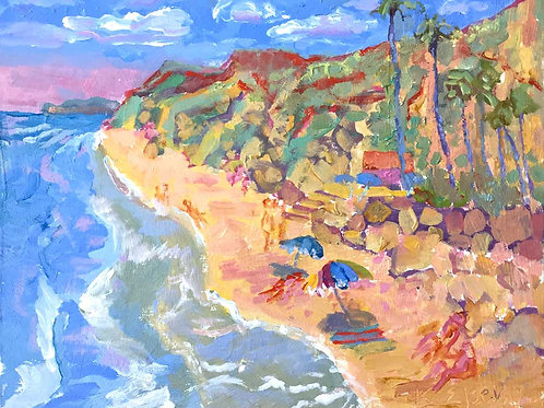 Beach With Palms By Kathleen Elsey