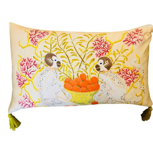 Spotted Monkeys Cream Silk Pillow