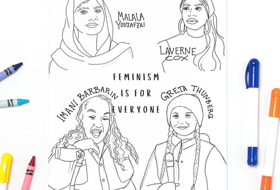 Feminism Is For Everyone Coloring Sheet