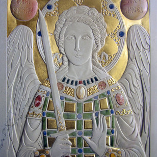 St-Michaeal. Stone carving with semi-precious stones and goldleaf.