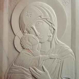 "Virgin of Vladimir in steatite. 8"" x 10"""