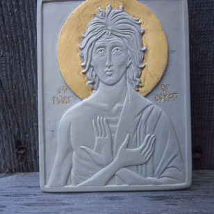 """St-Mary of Egypt in Steatite. 3"""" x 4"""""""