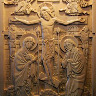"""Crucifixion Scene. Linden 12"""" x 16"""""""