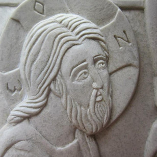 """Detail of Christ. Washing of the feet. Steatite. 11"""" x 16"""""""