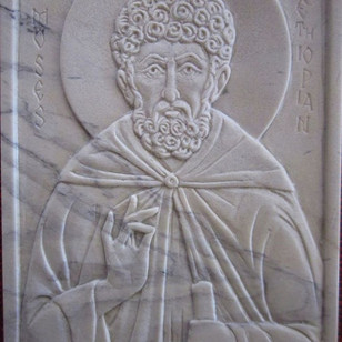 """St-Moses the Ethiopian in steatite. 3"""" x 4"""""""