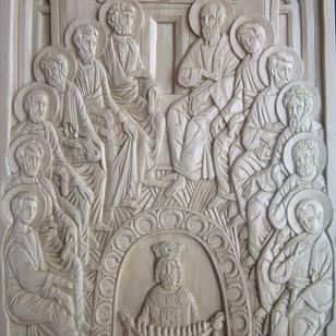 """Pentecost icon. Linden 12"""" x 16"""""""