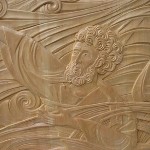 Christ Pulls St-Peter from the water. Linden with gilding. 4' x 5'