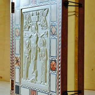 Gospel Cover. Steatite icon in a veneer frame. Frame designed and made by Andrew Gould.