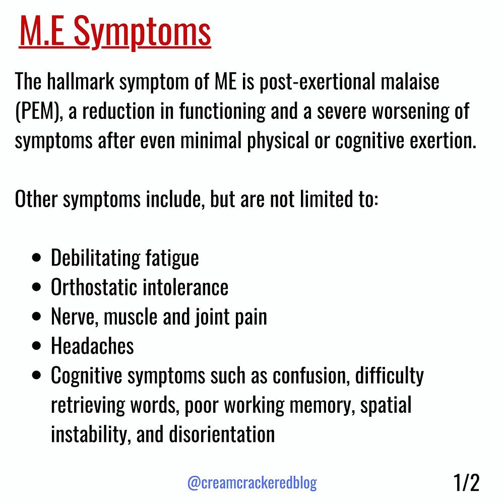 A list of M.E symptoms taken from the ME Action Network website, which you can read here: