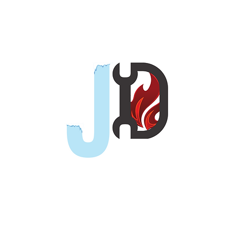 JD logo featuring a frozen J and a D with a gas flame inside.