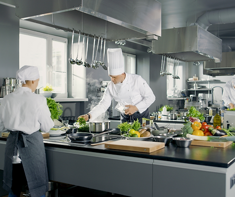 Two chefs preparing food in a commercial kitchen.