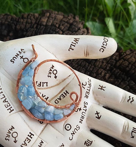 Copper Moon Necklace in Aquamarine. The