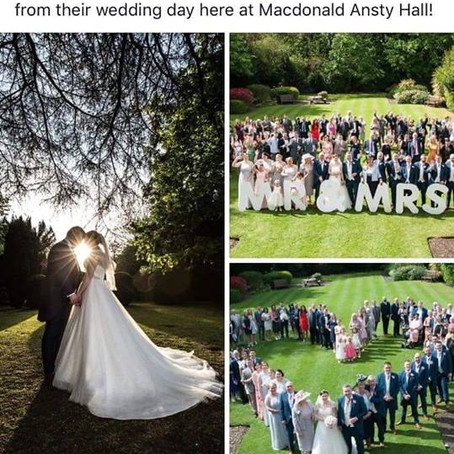 Couple win a luxury break competition with Janus's photography of their wedding at Ansty Hall
