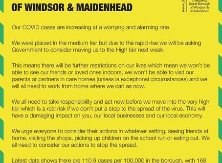 Windsor & Maidenhead Covid-19 Alert Status