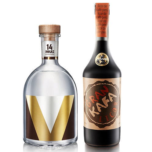 Vodka 14 Inkas 750ml + Gran Kafa Licor Café 750ml