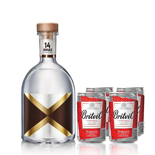 Vodka 14 Inkas 750ml + 2 Four Pack Jugo de tomate