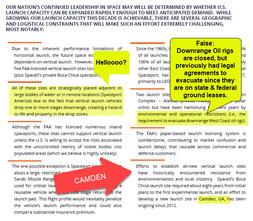 Spaceport Camden Falsely Claims Strategic Purpose